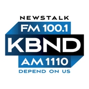 FM News 100.1 and 1110 AM KBND logo